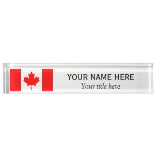 Porte-nom Pour Bureau Drapeau personnalisé de Canadien de nom et de