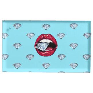 Porte-numéro De Table Diamant chic de lèvres Girly