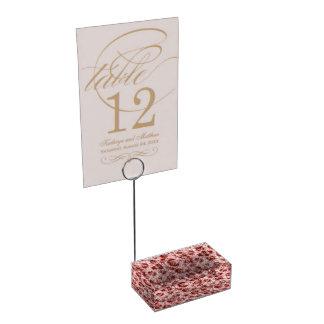 Porte-numéro De Table Faux motif rose et rouge de fourrure de léopard