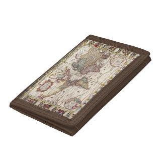 Portefeuille À 3 Volets 1652 carte du monde, carte du monde d'atlas de mer