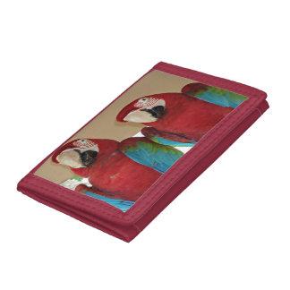 Portefeuille À 3 Volets Aras rouges, bleus, verts (perroquets)