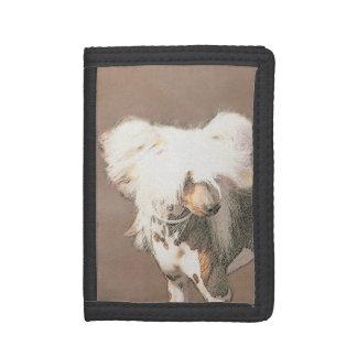 Portefeuille À 3 Volets Art original de chien de peinture chauve crêtée