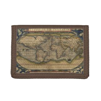 Portefeuille À 3 Volets Carte antique du monde