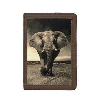 Portefeuille À 3 Volets Éléphant de Taureau sauvage majestueux dans la