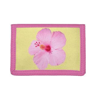 Portefeuille À 3 Volets Fleur tropicale de ketmie rose