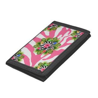 Portefeuille À 3 Volets Ketmie tropicale et rayures roses exotiques de