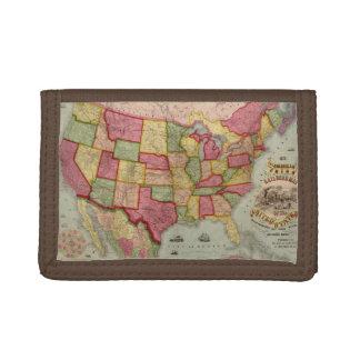 Portefeuille À 3 Volets La carte américaine de chemin de fer des syndicats