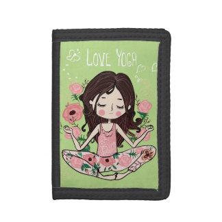 Portefeuille À 3 Volets La fille rose de roses aime le yoga