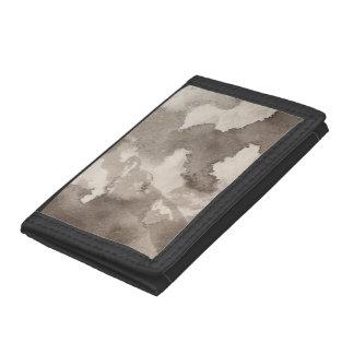 Portefeuille À 3 Volets L'encre grise grise blanche noire de motif de lune