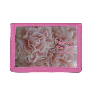 Portefeuille À 3 Volets Mauve rose de fleurs de velours