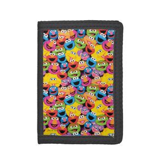 Portefeuille À 3 Volets Motif de visages de caractère de Sesame Street