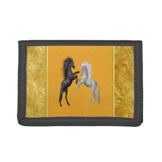 Portefeuille À 3 Volets Noir et un cheval blanc qui combattent