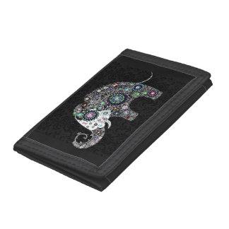 Portefeuille À 3 Volets Rétro éléphant floral coloré