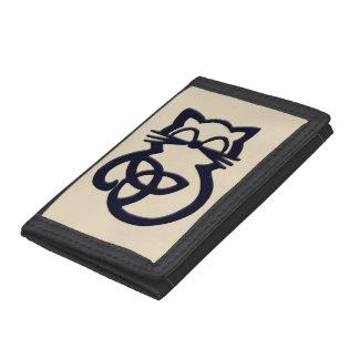 Portefeuille celtique de chat de noeud noir de