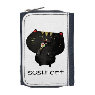 Portefeuille Chat noir mignon de sushi de Kawaii