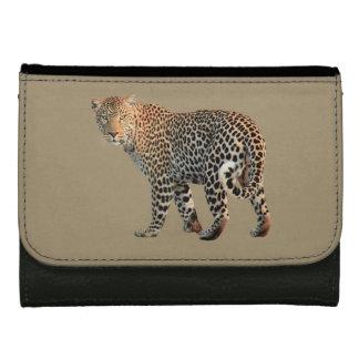 Portefeuille de cuir de noir de chat de léopard