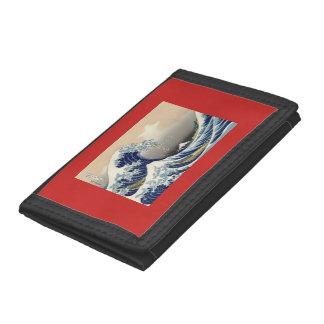 Portefeuille en nylon triple noir avec la vague de