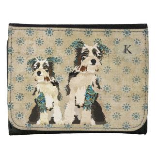 Portefeuille floral de monogramme de chiens