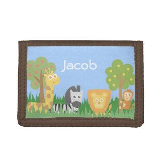 Portefeuille orienté d'enfants d'animaux de safari