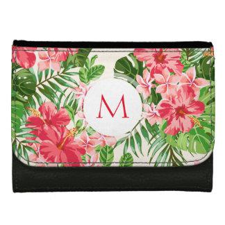 Portefeuille personnalisé de monogramme de fleur