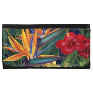 Portefeuilles floraux hawaïens de paradis tropical