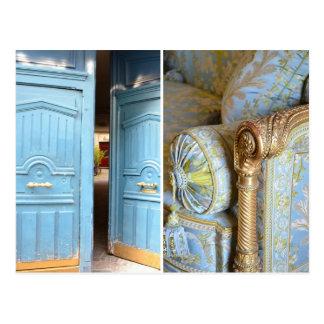 Portes de bleu français et carte postale de chaise