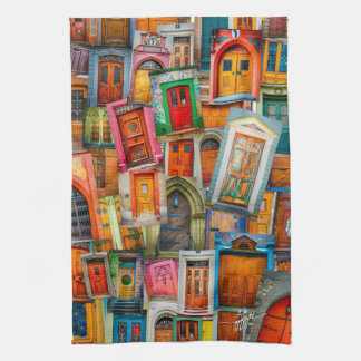 Portes de la cuisine colorée du monde serviette éponge