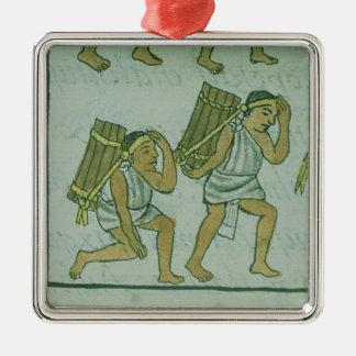 Portiers aztèques, 'du Codex florentin Ornement Carré Argenté