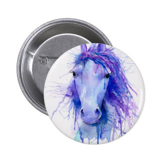 Portrait abstrait de cheval d'aquarelle badges