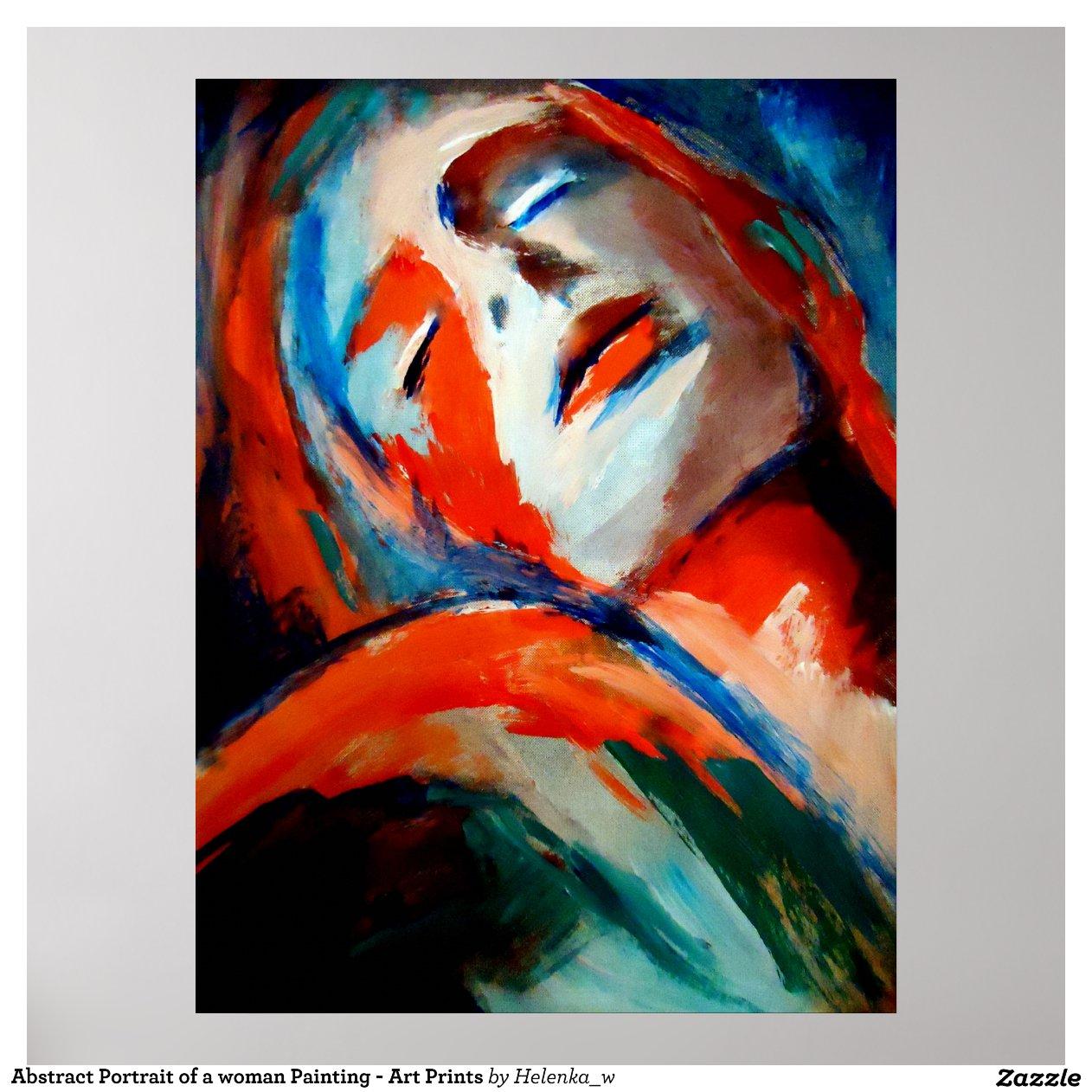 Portrait abstrait d 39 une peinture de femme l 39 art poster - Poster peinture ...