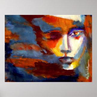 Portrait abstrait d'une peinture de femme - l'art posters