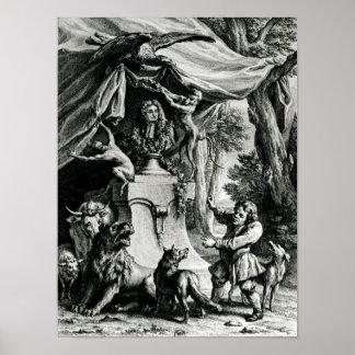Portrait allégorique de Jean de La Fontaine Affiches