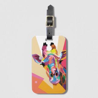 Portrait coloré de girafe d'art de bruit étiquette à bagage