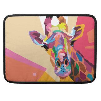 Portrait coloré de girafe d'art de bruit housse pour macbook