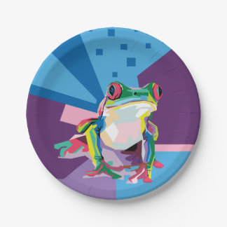 Portrait coloré de grenouille d'arbre assiettes en papier