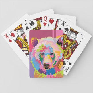 Portrait coloré d'ours d'art de bruit cartes à jouer