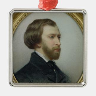 Portrait d'Alfred de Musset 1854 Ornement Carré Argenté