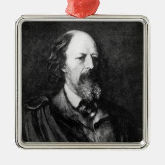 Portrait d'Alfred, seigneur Tennyson c.1860s Ornement Carré Argenté