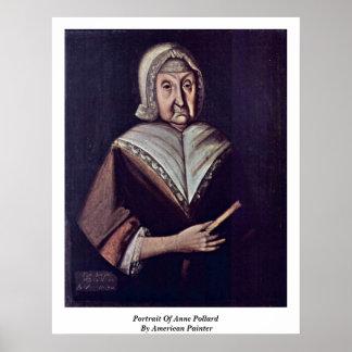 Portrait d'Anne Pollard par le peintre américain Affiche