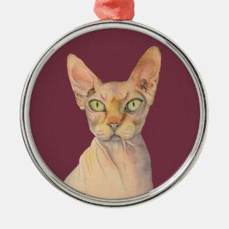 Portrait d'aquarelle de chat de Sphynx Ornement Rond Argenté