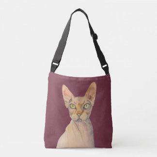 Portrait d'aquarelle de chat de Sphynx Sac
