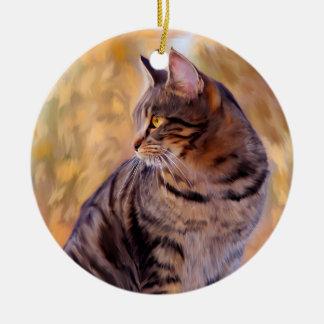 Portrait d'art de chat ornement rond en céramique