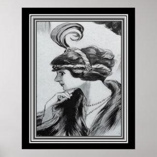 Portrait d'art déco d'un aileron ca.1920 - 16x20