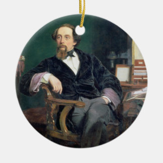 Portrait de Charles Dickens (huile sur la toile) Ornement Rond En Céramique