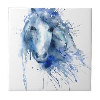 Portrait de cheval d'aquarelle avec l'éclaboussure petit carreau carré