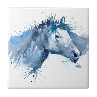 Portrait de cheval d'aquarelle petit carreau carré