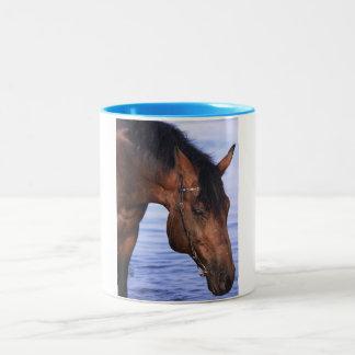 portrait de cheval de natation tasse 2 couleurs