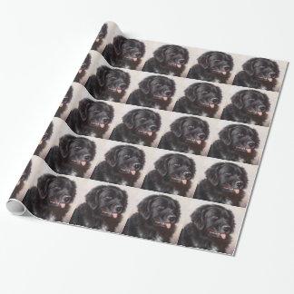 Portrait de chien de Terre-Neuve Papier Cadeau