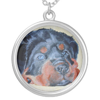 Portrait de chiot de rottweiler collier
