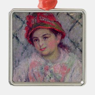 Portrait de Claude Monet | de Blanche Hoschede Ornement Carré Argenté